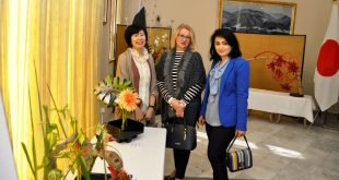 Ikebana flower arrangement & embroidery exhibition held at Japan Embassy
