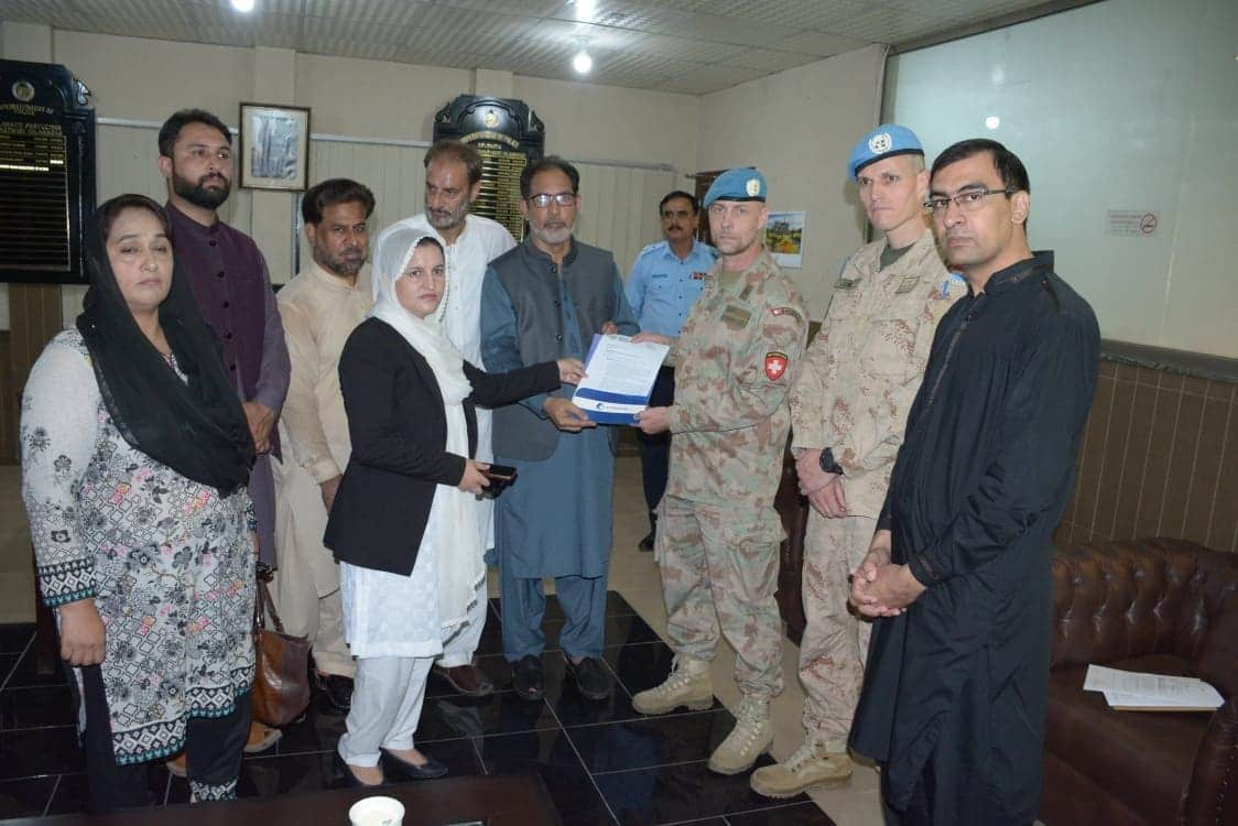 ISLAMABAD:Chsirman KIIR Altaf Hussain Wani presenting to UN Military Observe Group in Islamabad on behalf of Kashmir Civil Society