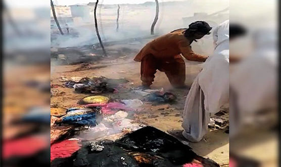 Three children burnt alive in Ghotki huts fire
